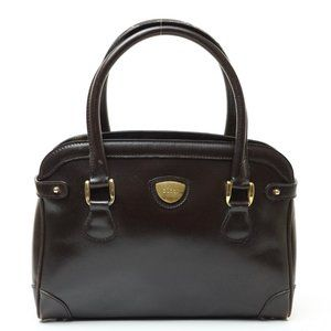 Auth Gucci Hand Bag Black Leather Brown #7765G12